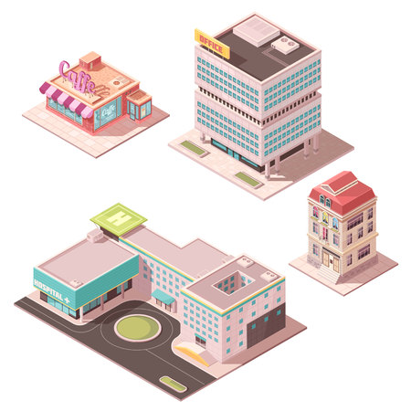 Set of isometric buildings including cafe, office center, residential house, hospital with helicopter pad isolated vector illustration Illustration