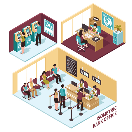 Isometric bank office composition including staff at workplaces with visitors, waiting places, atm zone isolated vector illustration