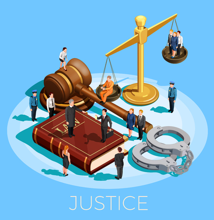 Law design isometric conceptual composition with little people on top of balance gavel legal code and wristbands vector illustration