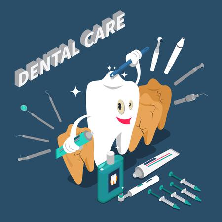 Il concetto isometrico di cure odontoiatriche con personaggio dei cartoni animati nella forma del dentifricio e dello spazzolino da denti della tenuta del dente vector l'illustrazione Archivio Fotografico - 91856567