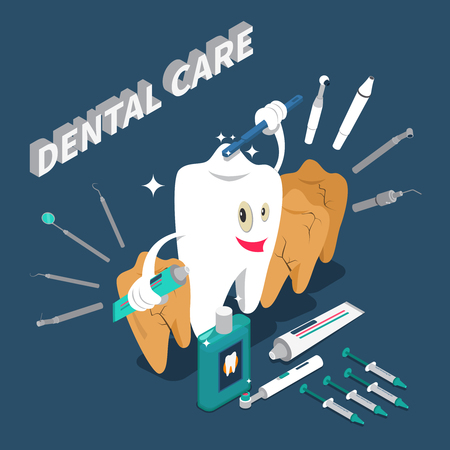 Dental care isometric concept with cartoon character in shape of tooth holding toothpaste and toothbrush vector illustration