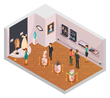 People in museum hall isometric composition with guide and visitors viewing historical fashion exhibition 3d vector illustration