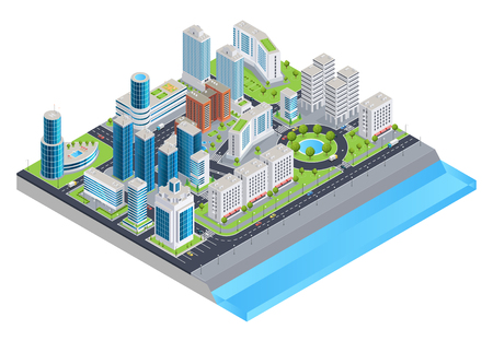 Isometric city composition with modern skyscrapers cars on streets parks and city embankment vector illustration