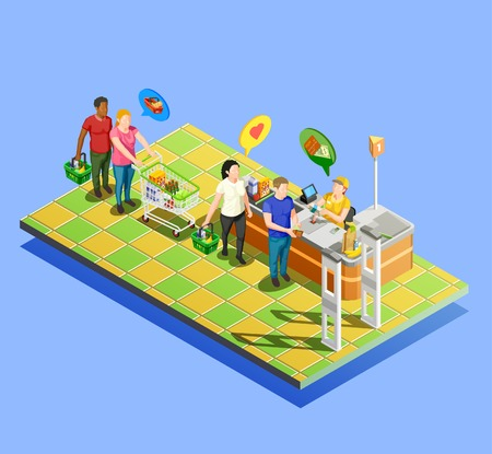 Isometric people shopping line composition of marketer human characters with trolleys carts and flat thought bubbles vector illustration