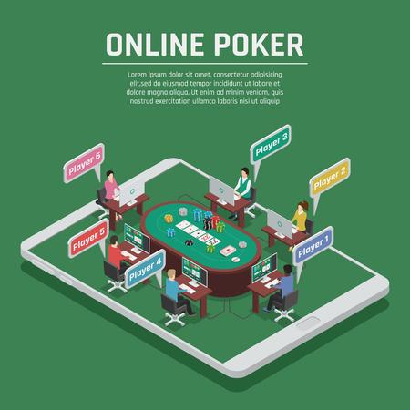 Cartel isométrico del fondo verde esmeralda del anuncio en línea del casino con las virutas de la tabla del juego del póker y la ilustración del vector de los jugadores Foto de archivo - 91856561