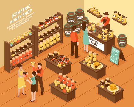 Honey farm organic production store isometric poster with jars on shelves oak barrels and customers vector illustration Ilustração