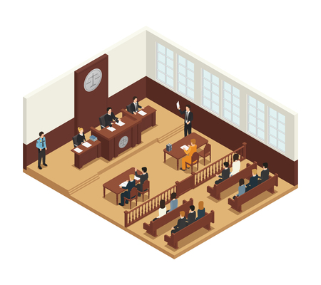 Law justice criminal trial courtroom proceedings isometric composition icon with judge bench defendant attorneys audience vector illustration
