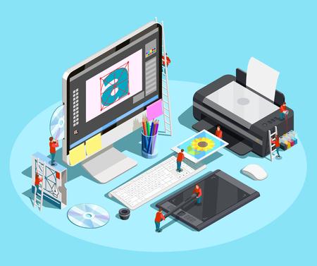 デザイナーの職場とコンピュータプリンタやタブレット上の小さな人々とのグラフィックデザインアイソメトリック概念構成。  イラスト・ベクター素材