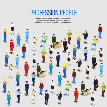 People background isometric composition of isolated human characters representing various occupations with shadows and editable text vector illustration