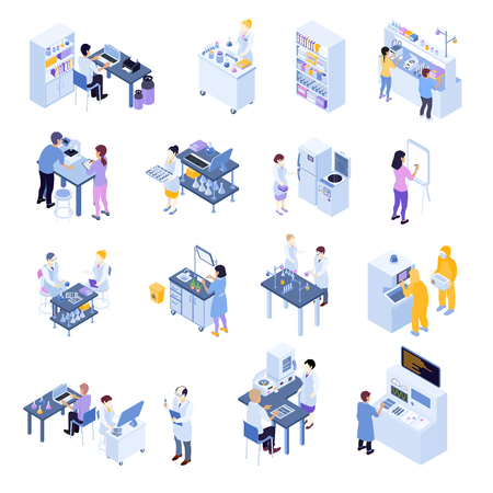 Colored isometric scientific laboratory icon set with laboratory workers on their workplaces vector illustration