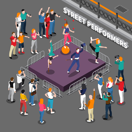 Street performers isometric composition including podium with pantomime actor, balancer on ball, acrobats and audience vector illustration Illustration