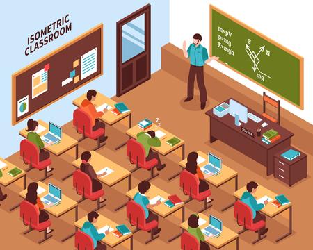 Cartaz isométrica de lição de ensino médio com professor na lousa e ouvindo os alunos em suas mesas de ilustração vetorial Ilustración de vector