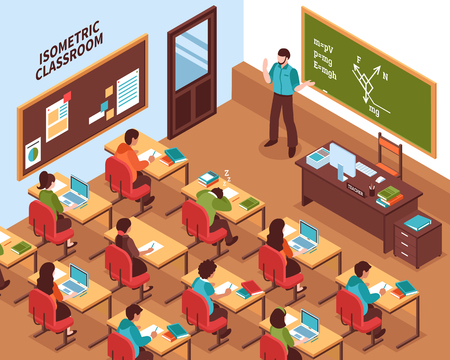 High school lesson isometric poster with teacher at chalkboard and listening students at their desks vector illustration