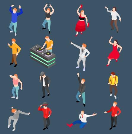 Collectie van dans de isometrische mensen met menselijke karakters die in moderne en in traditionele stijl met de vectorillustratie van de schijfjockey presteren Stock Illustratie