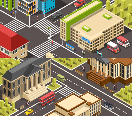 Government building isometric banners horizontal collection with classic and modern architecture in urban scenery vector illustration