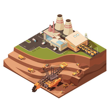 Isometric mining composition with images of factory buildings and opencast mine with extractive equipment for quarrying vector illustration Ilustração