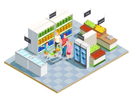 Família isométrica composição comercial de pais interiores de loja conveniente e personagens humanos de crianças com ilustração vetorial de carrinho de compras Ilustración de vector