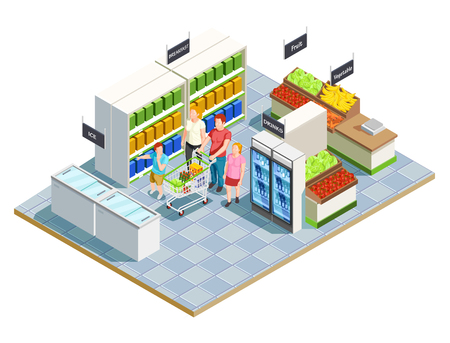 Family shopping isometric composition of convenient store interior parents and kids human characters with grocery cart vector illustration