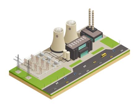 De transmissie en de distributiefaciliteiten van de elektrische stroomnetwerk isometrische samenstelling met aangrenzende autosnelweg 3d model vectorillustratie