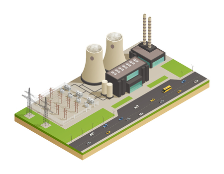 Electric power generation transmission and distribution  facilities network isometric composition with neigboring motorway 3d model vector illustration