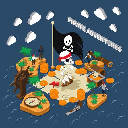 Pirate adventures isometric composition with skull on black flag golden coins compass sailing ship binoculars handgun islands vector illustration