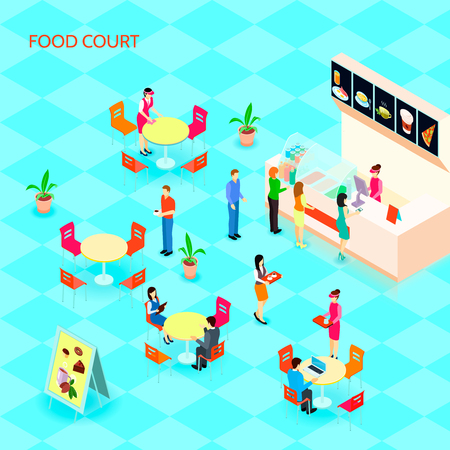 Colored fast food isometric icon set with food court at the mall with people who eat vector illustration Illustration