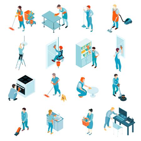 Serviço de limpeza conjunto isométrico incluindo trabalhadores durante a lavagem de janelas, pisos, limpeza de ilustração vetorial de móveis isolados