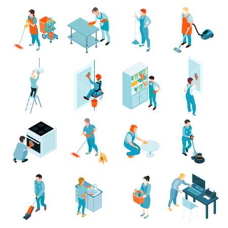 Cleaning service isometric set including workers during washing of windows, floors, wiping of furniture isolated vector illustration
