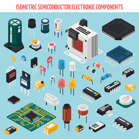 Colored isolated semiconductor electronic components isometric icon set with motherboard chips and other elements vector illustration