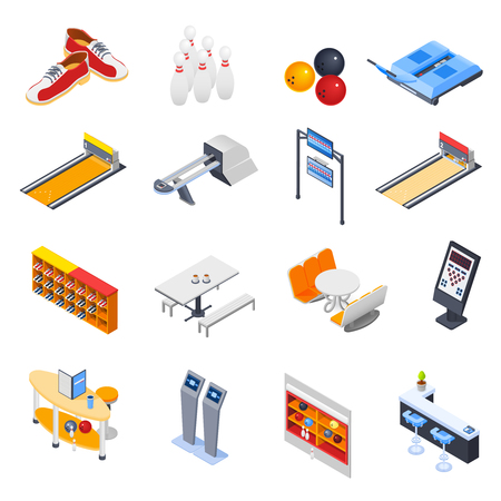 Bowling isometric icons with game equipment, cafe tables, shelves for shoes and balls isolated vector illustration