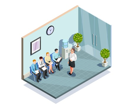 Waiting interview isometric people composition with office reception area interior and delayed job applicants human characters vector illustration