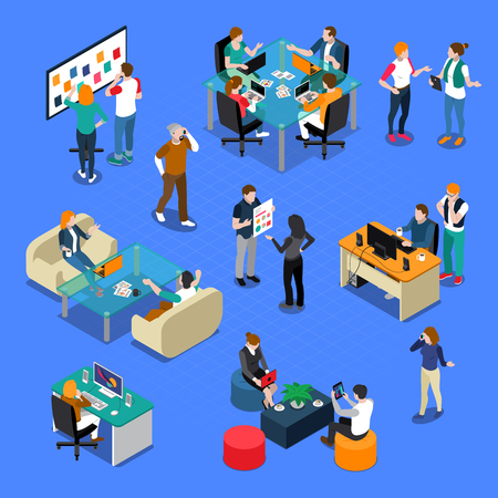 Coworking isometric set with people in workplace, during talking or creative process, interior elements isolated vector illustration