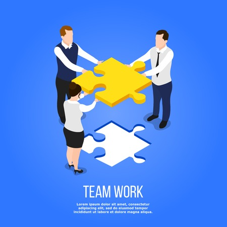 Isometric people teamwork conceptual background with group of human characters holding jigsaw puzzle with editable text vector illustration Illustration