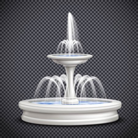 Colored fountains realistic isolated transparent composition with water splashes for site design vector illustration