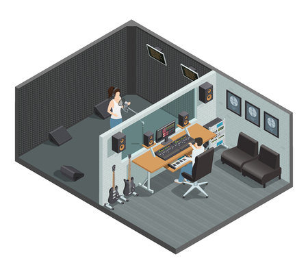 Isometric interior of music studio with soundproof booth for vocal recording control room and people characters vector illustration