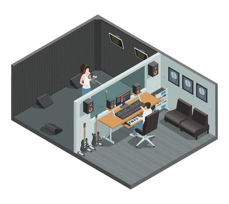 Isométrique intérieur de studio de musique avec cabine insonorisée pour la pièce de commande d'enregistrement vocal caractères et illustration vectorielle de personnages Banque d'images - 92020779