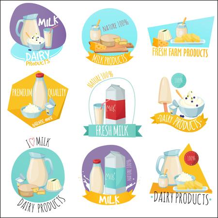 Conjunto de productos lácteos icono . Foto de archivo - 92051701