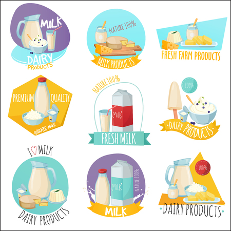Set of dairy products icon.