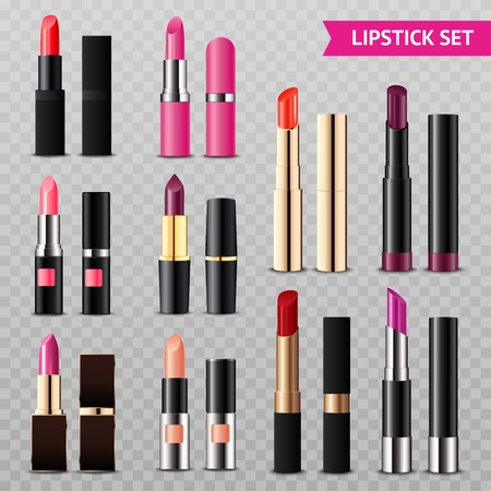 Assorted colors lipsticks set from glossy intense red to matte nude pink realistic transparent background vector illustration
