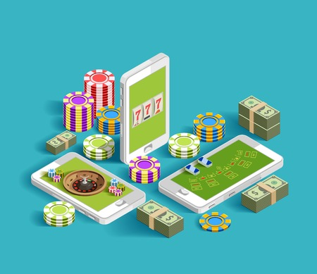 Casino isometric icons composition with chips bundles of banknotes and smartphone images with casino gaming apps vector illustration Ilustracja