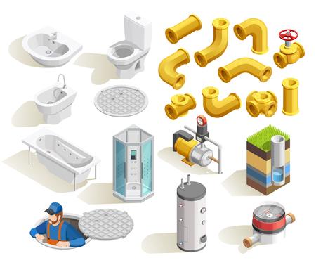 colorful plombier icônes isométriques fixés avec lavabo lavabo lavabo et le réfrigérateur isolé sur fond blanc illustration vectorielle Vecteurs