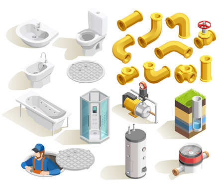 Colorful plumber isometric icons set with toilet bath shower sink heater and pipeline isolated on white background vector illustration Illustration