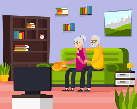 Flat aged elderly people composition with two people watch on tv their favorite show vector illustration Illustration