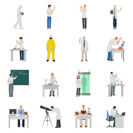Scientist icons set with experiment symbols flat isolated vector illustration Ilustrace