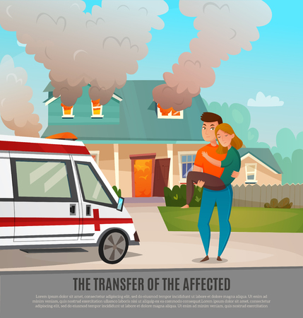 Colored emergency first aid people poster with the transfer of the affected headline vector illustration