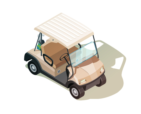 Golf isometric icon composition with realistic buggy vehicle with no passengers on blank background with shadow vector illustration