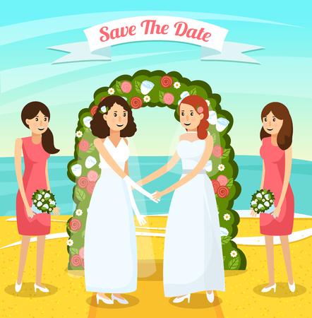 2人の女性との色と平らな結婚式の人々の直交構成は、結婚ベクトルイラストを取得します  イラスト・ベクター素材