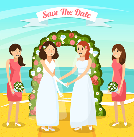 Colored and flat wedding people orthogonal composition with two women get married vector illustration Vectores