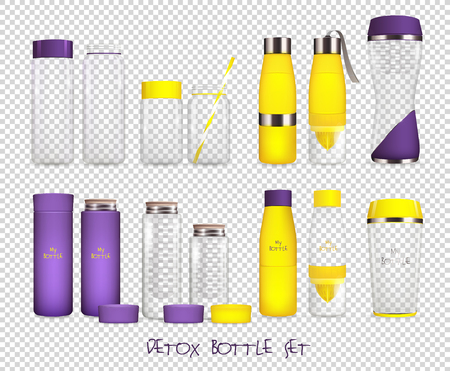 Set of realistic bottle containers icon.