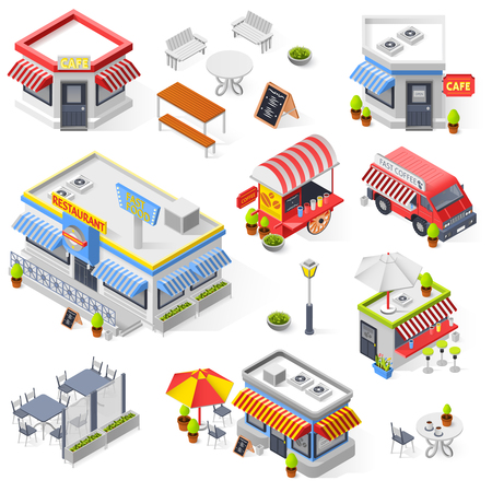 Set of street restaurant and cafe isometric icons with hot dog carts fast food truck and mini market isolated vector illustration